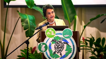 Gov. Lou Leon Guerrero talks about the health of Guam's coral reefs during the 30th Pacific Islands Environmental Conference on June 25, 2019.