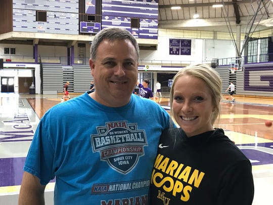 Greencastle assistant girls basketball coach Jeff Kirkhoff (left) and Greencastle coach Kellie Kirkhoff