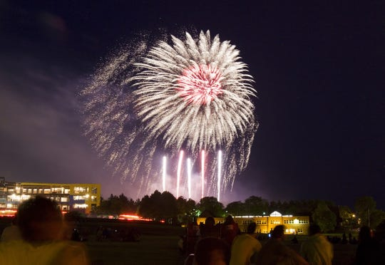 Viewers watch the Independence Day fireworks celebration from the Ithaca College football practice fields during the 2008 Community Fireworks in Ithaca.