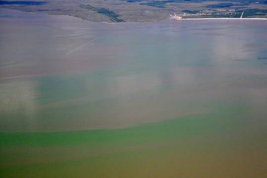 A toxic algae bloom can be seen from the air along the Mississippi coast.