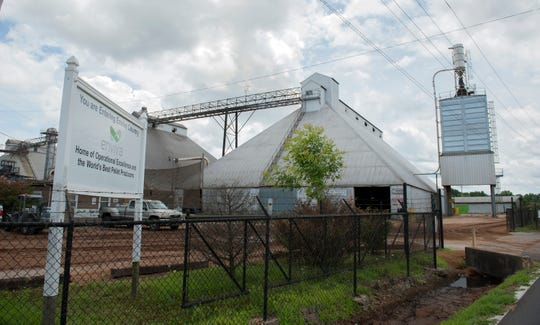 The Enviva pellet mill on Martin Luther King Drive in Amory, located right in town, runs 24 hours a day.