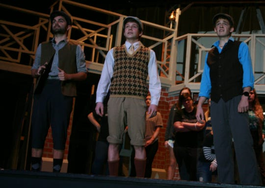 "Students in the Chester Co. High production of Disney's ""Newsies"" rehearsed after school as it was a school-wide production with 80 cast members."