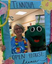 Membership coordinator Betsy Wilson has a little fun at a recent North Knoxville Medical Center Health & Fitness open house.