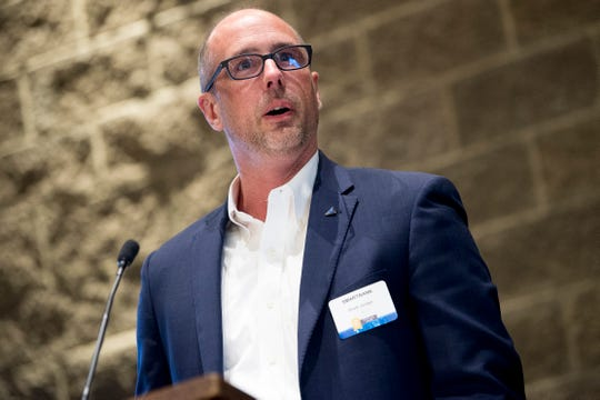 Rhett Jordan of SmartBank speaks after receiving an award at the 2019 Knox.Biz Top Workplaces event at The Foundry in Knoxville, Tennessee on Tuesday, June 25, 2019.