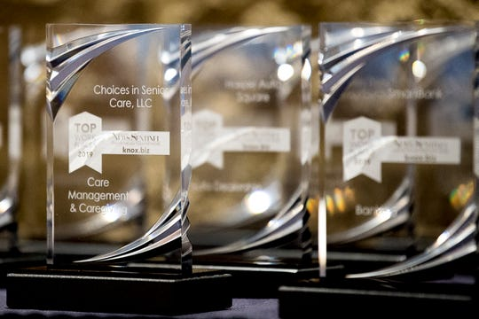 A row of awards at the 2019 Knox.Biz Top Workplaces event at The Foundry in Knoxville on June 25, 2019.