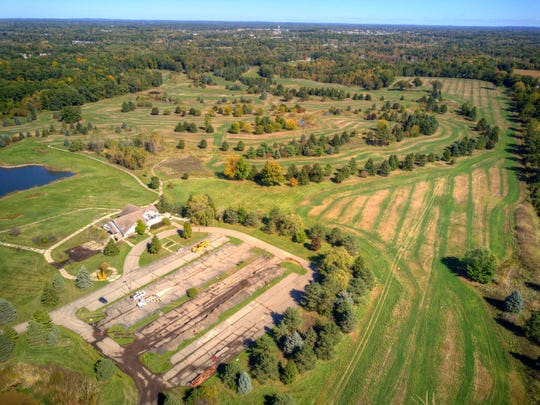 An aerial view of 230 acres in Marion Township shows where Capital Custom Homes will build a new subdivision off D-19 near Howell.