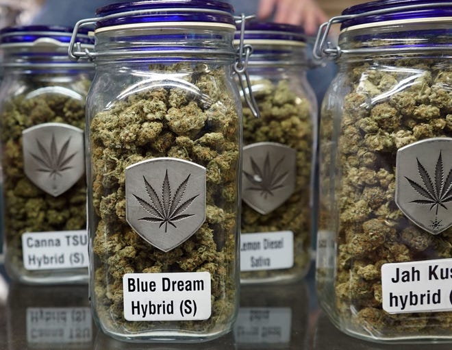 Most marijuana dispensaries store jars of marijuana flowers. Owners offer brands of marijuana with creative, attention-grabbing names.