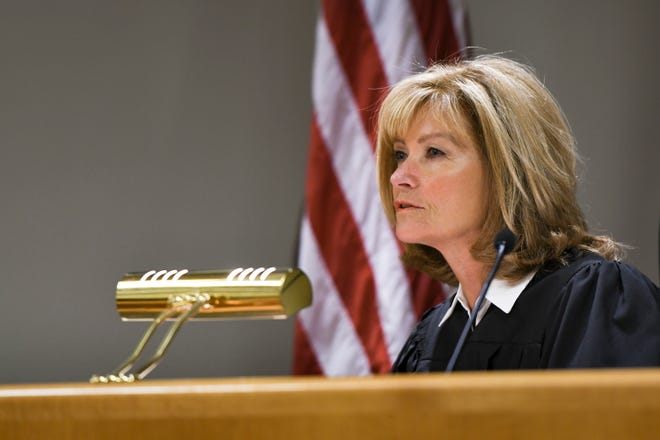 54B District Court Judge Andrea Larkin addresses attorneys Tuesday, June 25, 2019, during a preliminary hearing in her East Lansing courtroom related to charges against people police say defrauded the MSU Healing Assistance Fund.
