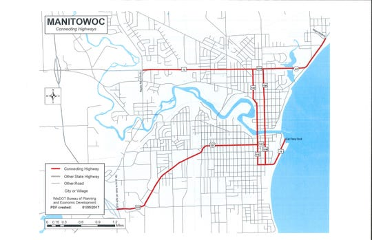 This map shows connecting highways in Manitowoc city limits.
