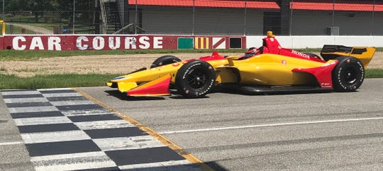 Ryan Norman completes a lap during his first-ever IndyCar test at Mid-Ohio Sports Car Course on Tuesday.
