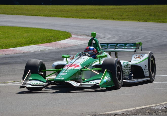 IndyCar driver Colton Herta gives the No. 88 Honda a test run around the Mid-Ohio Sports Car Course in late June.