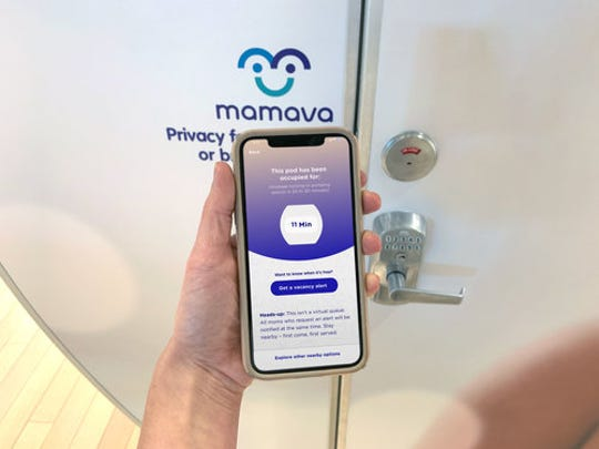 The associated app for Mamava helps parents find lactation pods in public and private spots across the U.S..