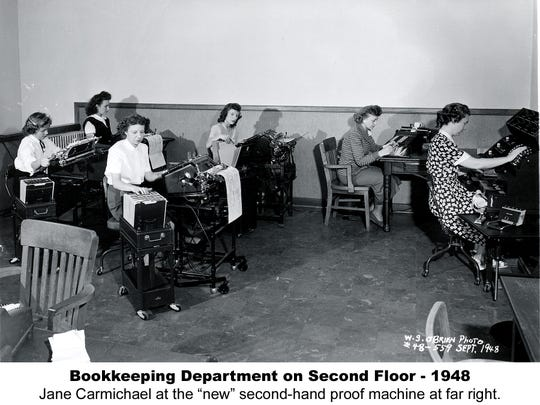 Bank employees work diligently in the second-floor bookkeeping department at the original location of Waukesha State Bank, 323 W. Main St., downtown in 1948. The bank computerized 20 years later, making the job a lot less cumbersome.