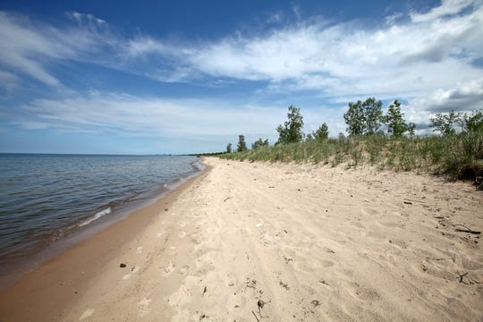 Lake Michigan laps against the sandy shore north of Miller Woods in Indiana Dunes National Park.