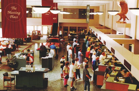 "Waukesha State Bank's lobby used to be a lot more crowded, such as on this occasion during the bank's 50th anniversary celebration in 1994. The bank branded the lobby as ""the meeting place"" because of the number of people who came through the doors daily."