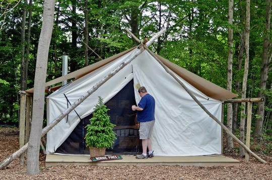 The 20x20 tents at The Fields in South Haven, Michigan, are built on raised wooden platforms.