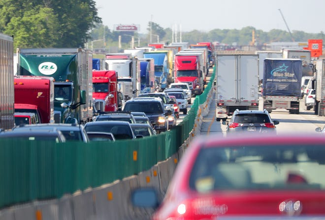 Traffic is backed up on I-94 northbound due to a crash near Drexel Avenue in Oak Creek on Tuesday, June 25, 2019.