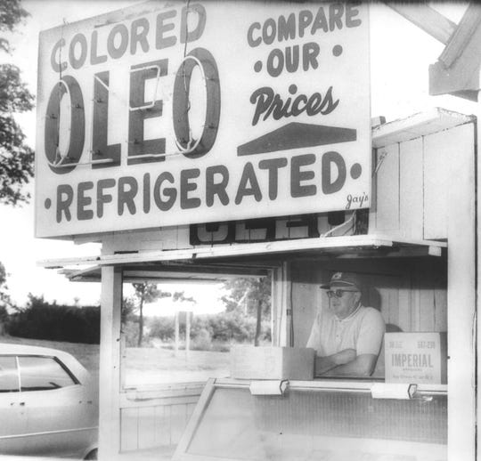 A stand at Highways 41 and 173, just south of the Illinois-Wisconsin border, still promotes its colored oleomargarine in July 1967, after Wisconsin ended its long ban on the food product.
