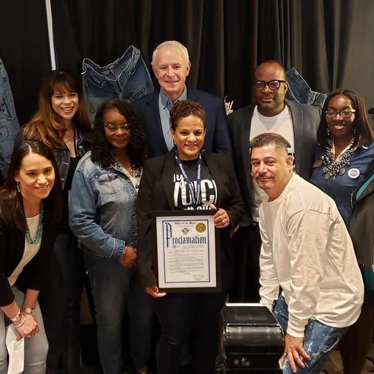 Karin Tyler organized the 2019 Denim Day press conference and many of the city's other sexual assault awareness events. Tyler posed for a picture at the press conference with Congresswoman Gwen Moore and Milwaukee Mayor Tom Barrett, among others, who both helped organize the events. This year's events focused primarily on communities of color.