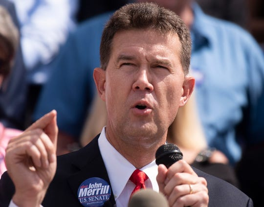 Secretary of State John Merrill announces that he is running for the U.S. Senate during a press conference at the State Capital Building in Montgomery, Ala., on Tuesday June 25 , 2019.