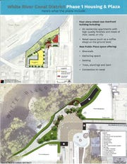 A handout at the neighborhood meeting shows an overall look at the project space (above) and what a city greenspace update (below) along the river would look like.