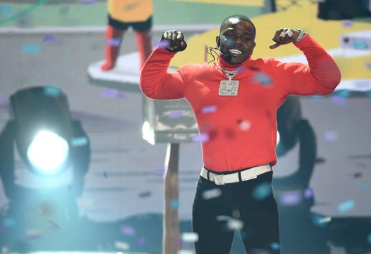"DaBaby performs ""Suge"" at the BET Awards on Sunday, June 23, 2019, at the Microsoft Theater in Los Angeles. (Photo by Chris Pizzello/Invision/AP)"