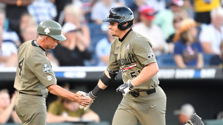 College World Series: JJ Bleday finally on the board with a home run in Game 1