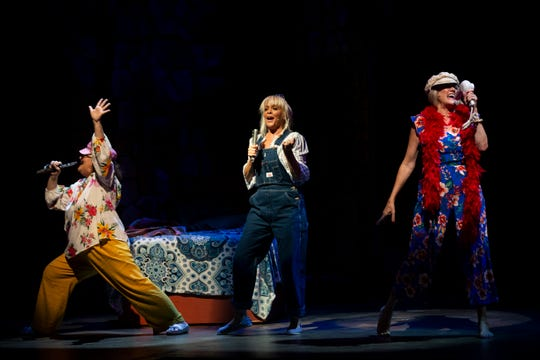 From left to right, Kristin Cassidy, Mary Anne McKerrow, and Debi Guthery perform Dancing Queen during a dress rehearsal of Mamma Mia by the Naples Players at Sugden Community Theatre in Naples on Monday, June 24, 2019.