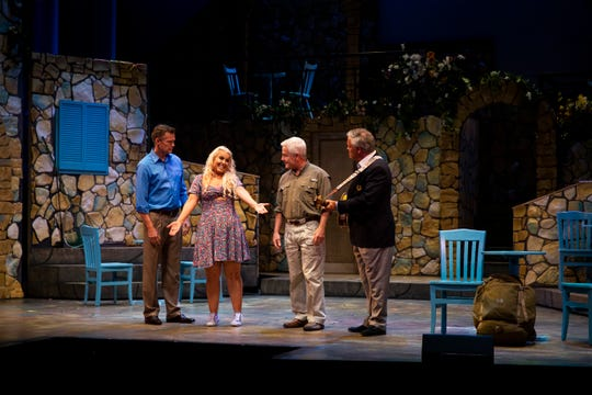 From left to right, Eric P. Bohus, Erica Sample, John McKerrow, and James Little act out a scene during a dress rehearsal of Mamma Mia by the Naples Players at Sugden Community Theatre in Naples on Monday, June 24, 2019.