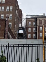 Scaffolding at Hackensack University Medical Center where worker was rescued