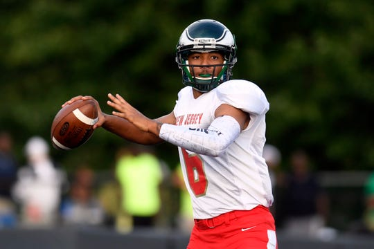 South quarterback Prince Dru-Bey throws the ball. The North defeats the South 24-23 in the Phil Simms North-South Football Classic on Monday, June 24, 2019, in Union.