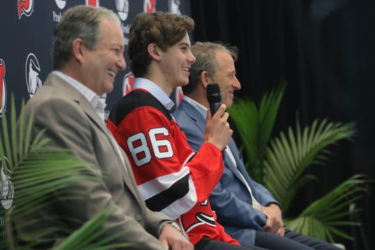 Devils number one draft pick, Jack Hughes (86), is shown during a press conference, in Newark, Tuesday June 25, 2019.