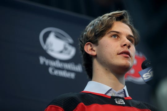 Devils number one draft pick, Jack Hughes, is shown during a press conference at the Prudential Center, Tuesday June 25, 2019.