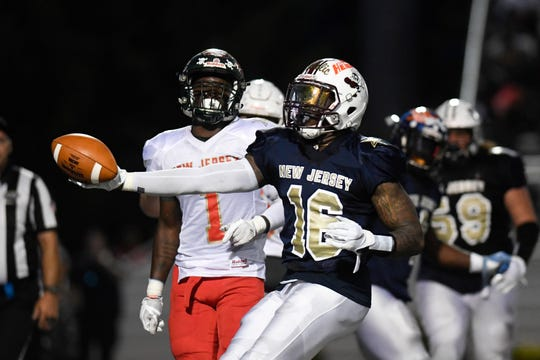North team's Azhuan Dingle of Bayonne scores a touchdown in the second half. The North defeats the South 24-23 in the Phil Simms North-South Football Classic on Monday, June 24, 2019, in Union.