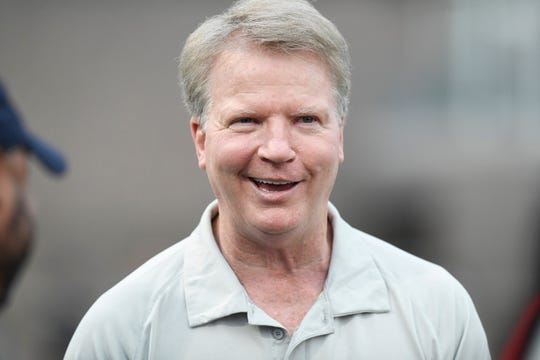 Former New York Giant quarterback Phil Simms on the sideline for this North-South Football Classic on Monday, June 24, 2019, in Union.