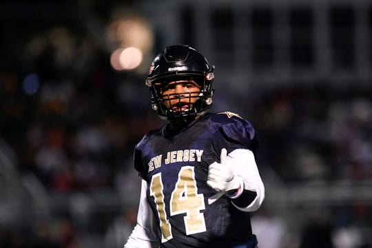 North team's Jasiah Purdie of Hasbrouck Heights. The North defeats the South 24-23 in the Phil Simms North-South Football Classic on Monday, June 24, 2019, in Union.
