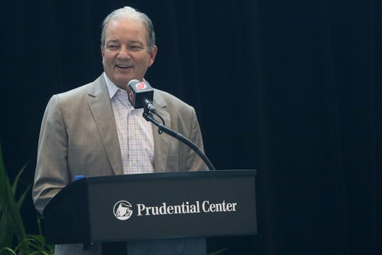 Devils Executive Vice President and General Manager, Ray Shero, speaks during a press conference, in Newark, Tuesday June 25, 2019.