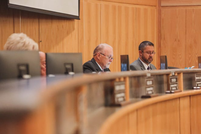 Commissioner Manuel Sanchez sits with the Doña Ana County Board of Commissioners during a meeting on Tuesday, June 25, 2019.