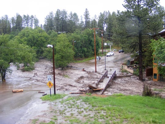 The 2008 fllod on the Rio Ruidoso wiped out bridges and utility lines.