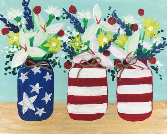 "Show your American pride with this ""Red, White and Blooms"" painting at Pinot's Palette"