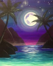 "Paint ""Mystic Moonlight"" at Pinot's Palette in Rancho Mirage this July."