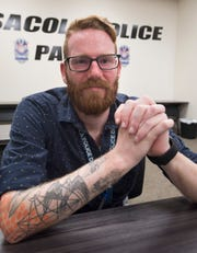 Mike Ozburn is thankful to be alive and able to return to work at the Pensacola Police Department on Tuesday, June 25, 2019. Over the weekend, Ozburn drifted away from his dive group 16-miles offshore and spent the next seven hours stranded in the Gulf of Mexico before being rescued by a passing boat.