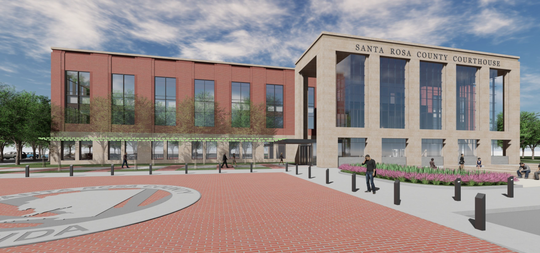 Renderings show what the outside of the new Santa Rosa County Courthouse will look like. Colors and design elements will be decided later.