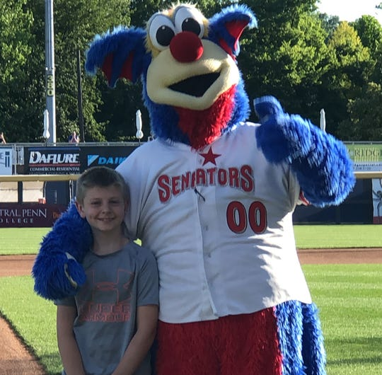 Josh Shorb, 10, was given the honor of throwing out the first pitch during a Harrisburg Senators game on June 14. Josh raised more than $6,000 in a three-year period for the American Heart Association, becoming the top fundraiser in Central Pennsylvania for the Kids Heart Challenge.