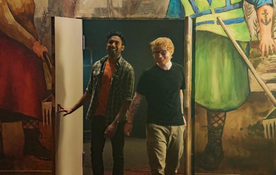 "In ""Yesterday,"" Jack (Himesh Patel) starts hanging around with Ed Sheeran."