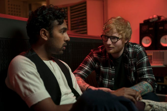 "In ""Yesterday,"" is there a better person for rising pop star Jack Malik (Himesh Patel, left) to ask for advice than Ed Sheeran?"