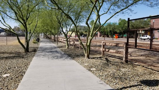 A portion of the pedestrian pathway that once completed will go from University Drive north toward Tempe Town Lake.