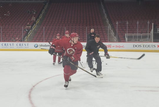 Scottsdale native Erik Middendorf (front) participates in drills at the Arizona Coyotes prospect camp, Tuesday, June 25, 2019 at Gila River Arena.