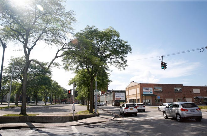 A pedestrian crosswalk between North Hamilton to the East and Catharine Street to the West in the City of Poughkeepsie in June. Several pedestrian crosswalks will be upgraded throughout the city next summer.
