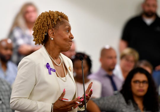 Carol Hill-Evans speaks during a York City Council town hall meeting concerning Mayor Michael Helfrich's hiring of Blanda Nace as chief opportunity development officer, Monday, June 24, 2019. 